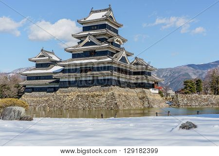 The beautiful keep of Matsumoto castle in winter