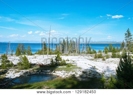 View of the Yellowstone Lake from the West Thumb Geyser Basin Yellowstone National Park