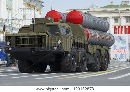 SAINT PETERSBURG, RUSSIA - MAY 05, 2015: Launcher S-300PM closeup on parade rehearsal in honor of Victory Day in St. Petersburg