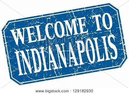 welcome to Indianapolis blue square grunge stamp