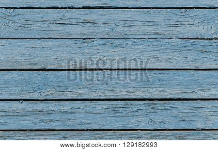 Texture of old rough blue fence peeling paint