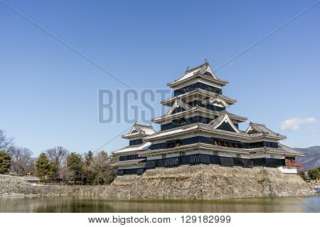 The beautiful keep of Matsumoto castle in winter, Nagano, Japan