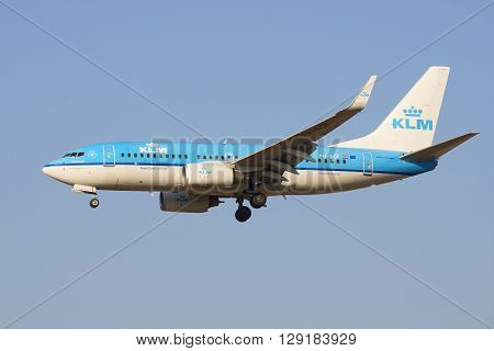 SAINT PETERSBURG, RUSSIA - MARCH 28, 2016: The Boeing 737 (PH-BGF) KLM Royal Dutch Airlines before landing at the airport Pulkovo. View profile
