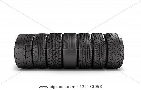 Car Wheels Stand In A Row Isolated On White 3D Illustration