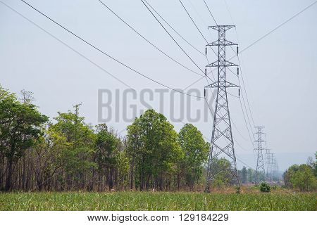 High voltage transmission line pass through forest and mountain