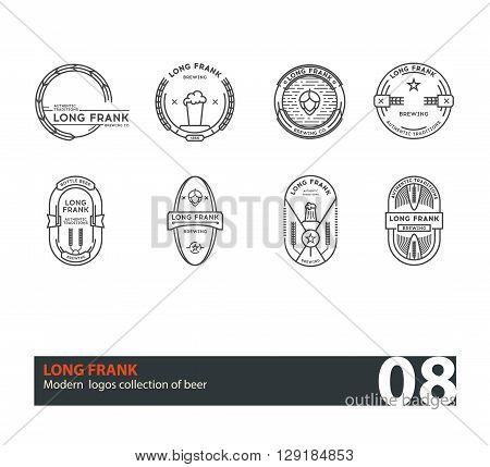 Set of vector beer outline  badges. Line art. Green