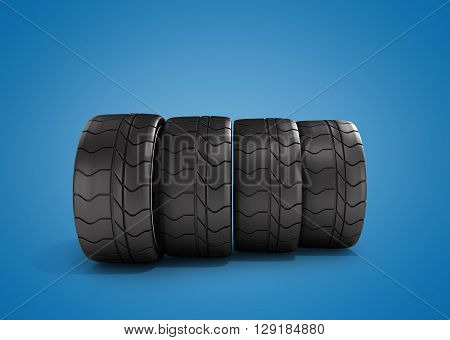 Four Tires Car Standing In A Row 3D Illustrations