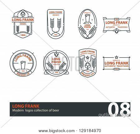 Set of vector beer outline logos, badges. Line art. Black