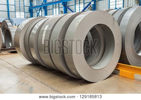 Steel (Silicon steel) rolls in storage area in the factory