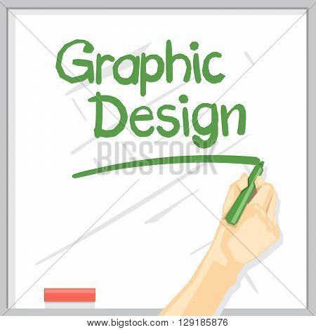 A hand with shadow drawing on a white table with green color marker graphic design inscription with underline digital vector image