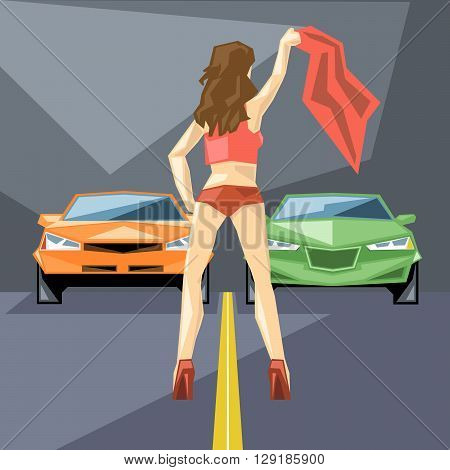 An orange and green cars at start for a racing and a girl in red with a neckerchief front view over silver background digital vector image