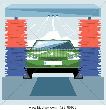 Green car wash at station with jet of water and red and blue cleaners front view digital vector image