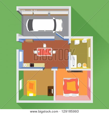 A house in section with a car in garage a bathroom a kitchen and 2 living rooms top view over a green background digital image vector