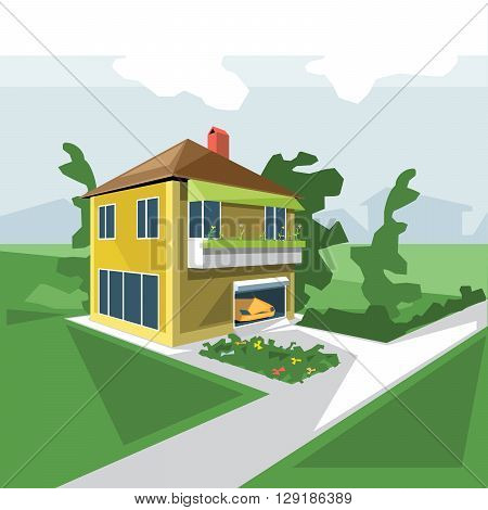A house in 2 floors view from perspective with flowers at the balcony and a yellow car in the garage and green garden digital vector image