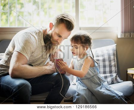 Family Father Daughter Love Parenting Listening Music Togetherness Concept