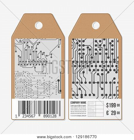 Vector tags design on both sides, cardboard sale labels with barcode. Microchip background, electronic circuit.