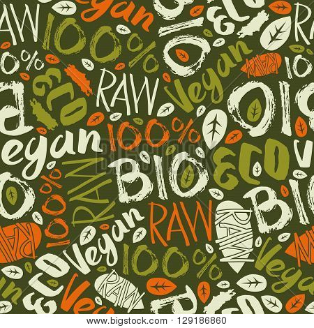Raw vegan seamless pattern with hand-drawn lettering. Color print on green background