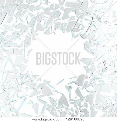 Green broken glass isolated on white background. 3d illustration