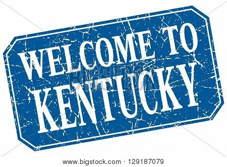 welcome to Kentucky blue square grunge stamp