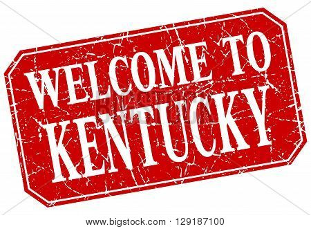 welcome to Kentucky red square grunge stamp