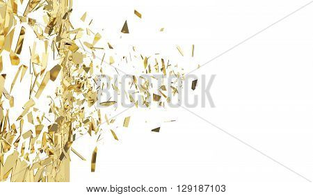 Broken gold wall isolated on white background. 3d illustration