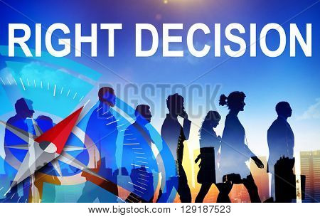 Right Decision Comparison Determination Direction Concept