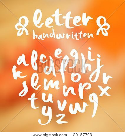 Vector handwritten brush script on blurred background