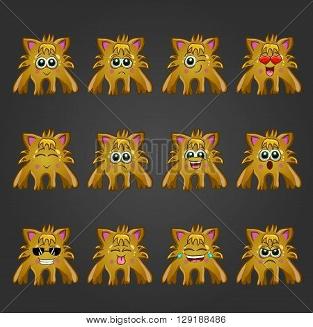 Set of cute cartoon monsters with different emotions.
