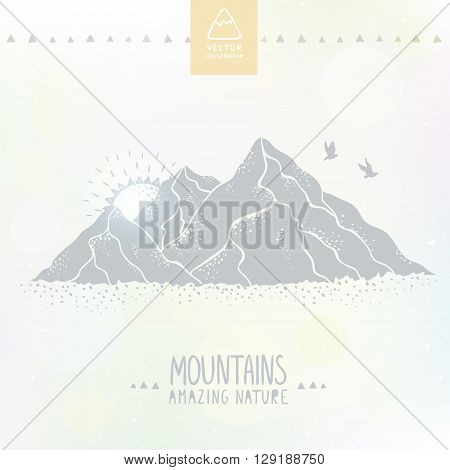 Beautiful and stylish vector illustration nature mountains. Hand drawn.