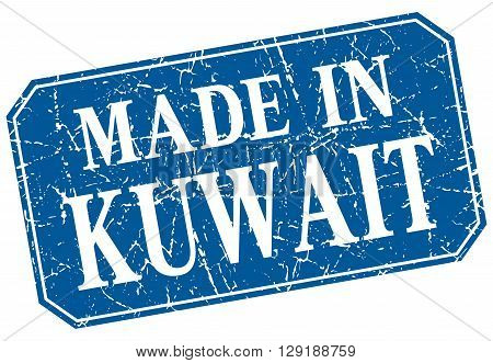 made in Kuwait blue square grunge stamp