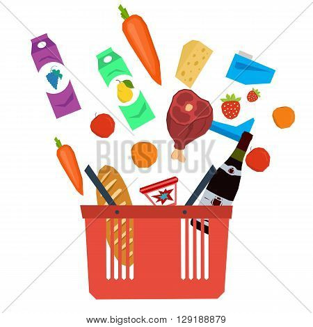 Vector set supermarket basket with food. Isolated food items falling in supermarket bag. Flat style