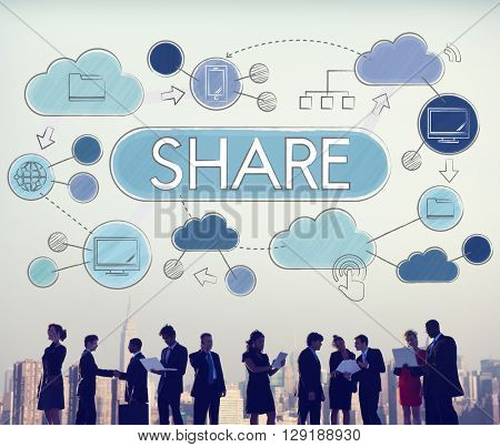 Share Sharing Data Connection Global Communication Concept
