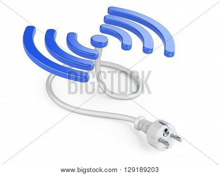 Wireless charger sign and electrick plug with cable. 3D image on a white background