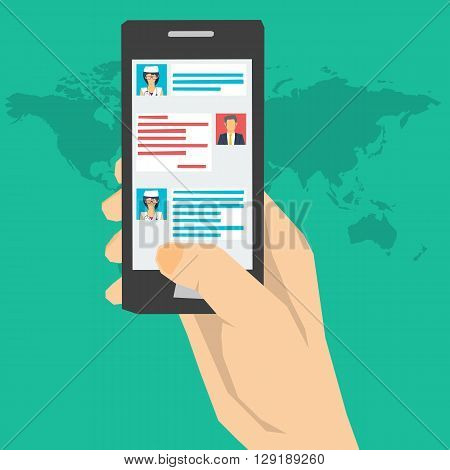 Vector concept online medical consultation with doctor. Dialogue on the smartphone screen with your doctor. Questions and Answers Online. Remote medical care. Web banner in flat style