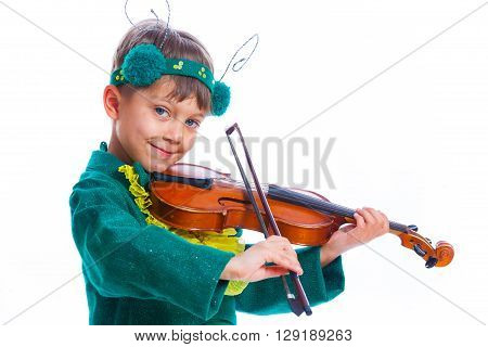 Funny boy in a suit of a grasshopper with violin. Isolated on the white background