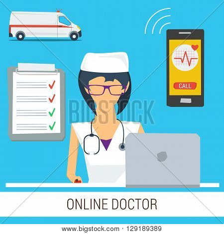 Vector concept online doctor medical consultation. Woman with stethoscope and computer ready to help online.  Ambulance car, smartphone and check list. Web banner in flat style
