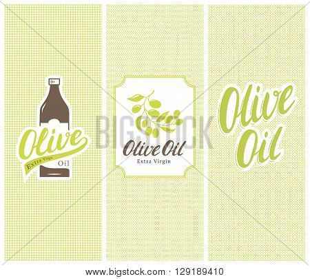 Olive oil trade mark bottle, label and stickers with logos, lettering and seamless patterns. Design elements and templates. Vector illustration.