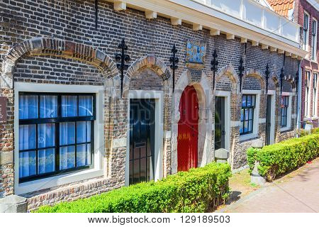 Gouda Netherlands - April 20 2016: historical house of the Christina Gijsberts courtyard. In the past existed a lot of small courtyards in Gouda. The most have been lost. Here only the house is left