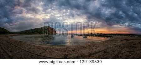 beautiful sunrise over the Black Sea bay Bolata - panoramic view copy space