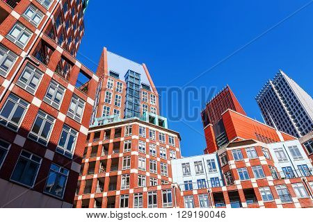 The Hague Netherlands - April 20 2016: modern buildings in The Hague. The Hague is the seat of the Dutch government and the 3rd largest city of the Netherlands with 515880 inhabitants