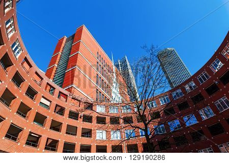 The Hague Netherlands - April 20 2016: skyscrapers in The Hague. The Hague is the seat of the Dutch government and the 3rd largest city of the Netherlands with 515880 inhabitants