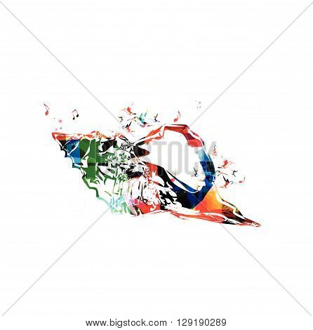 Vector illustration of colorful seashell with hummingbirds