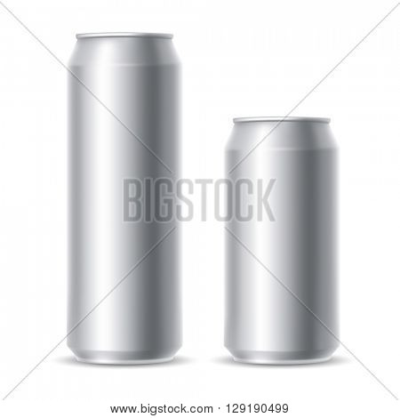 Set of realistic metallic beer cans. Blank beer cans, ready for new design. 500 and 300 ml. Isolated vector illustration