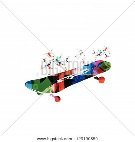 Vector illustration of colorful skateboard with hummingbirds