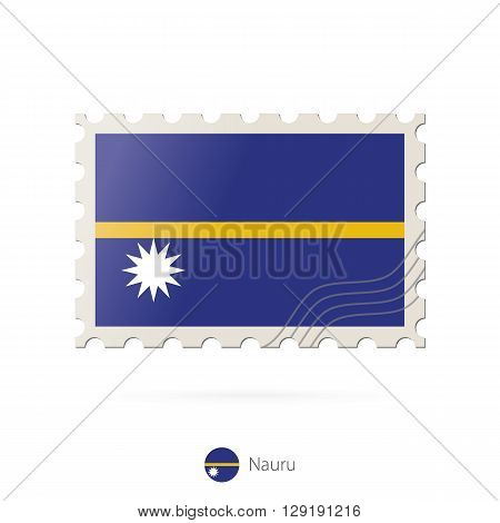 Postage Stamp With The Image Of Nauru Flag.