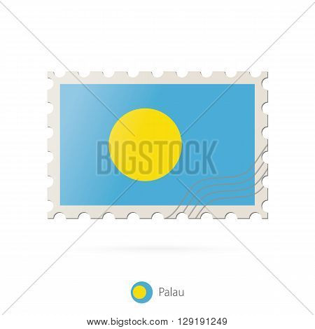 Postage Stamp With The Image Of Palau Flag.
