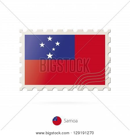 Postage Stamp With The Image Of Samoa Flag.