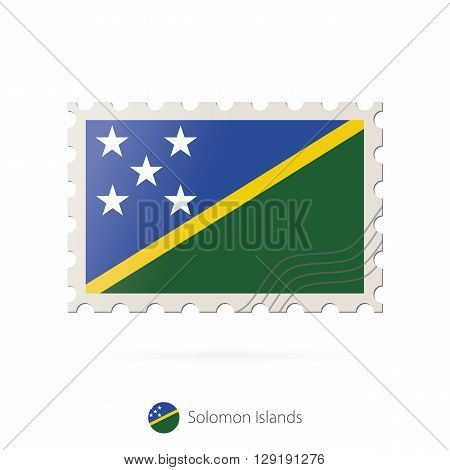 Postage Stamp With The Image Of Solomon Islands Flag.