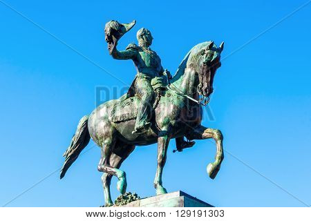 The Hague Netherlands - April 20 2016: equestrian statue of King William II at the Buitenhof. It is at this place since 1924 a precise replica of a statue in Luxembourg.