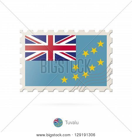 Postage Stamp With The Image Of Tuvalu Flag.